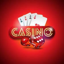 Ordet casino med spelkort och tärningar