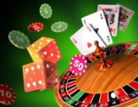 Rouletthjul, spelmarker, tärningar och spelkort