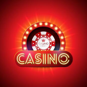 Ordet casino med en spelmark